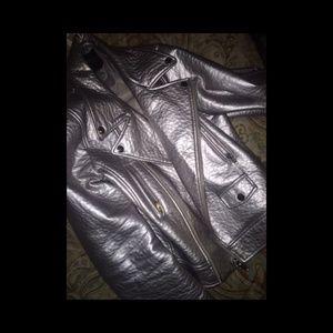 Forever 21 Silver Motorcyle Jacket